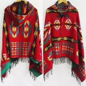 Aztec Warm Hooded Wrap Poncho Lush Cape In Red
